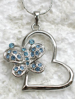 Gift aquamarine heart pendant - F220 R Aquamarine Crystal Rhinestone Heart Butterfly Pendant necklaces chain