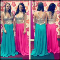 Cheap 2014 New Sweetheart Neckline with Beaded Straps A-Line Chiffon Prom Dresses Criss-Cross Back Evening Party Gowns Sweep Train Free Shipping