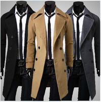 long down coat - 2015 New Brand Winter mens long pea coat Men s wool Coat Turn down Collar Double Breasted men trench coat