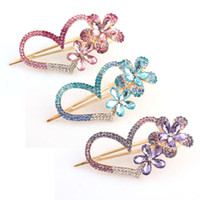 Wholesale Lady Crystal Rhinestone Hairclip Heart Hair Clip Bride Headwear For Party Feast Banquet Wedding
