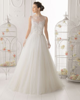 Wholesale 2014 Latest Aire Barcelona Wedding Dresses Sleeveless Lace Tulle Flower Button Floor Length Applqiues Crew Winter Spring Bridal Gown