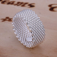 best free p - with tracking number Free P P best price Sterling Silver fashion jewelry mesh charms ring hot sale