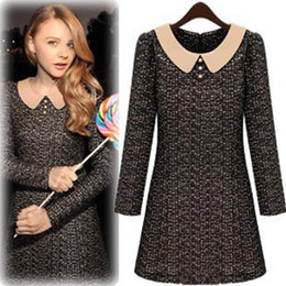 Wholesale Autumn new European and American style Hot high quality doll collar long sleeved dress