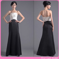 Wholesale Glamorous Black And White Bridesmaid Dresses Satin Sheath Floor Length Evening Gowns