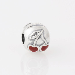 Authentic 925 Sterling Silver Love Red Cherries Clip charm Bead with Eanmel Fit Pandora European Charm Bracelets