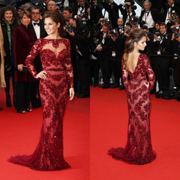 Wholesale Cannes Celebrity Dress Cheryl Cole Red Gown Corset Bodice Mermaid Bateau Applique Sequin Sheer Tulle Long Sleeves Sexy Party Evening Dresses