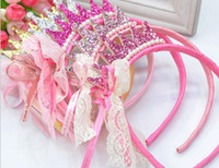 Wholesale Imperial crown baby girl plastic Lace hair bands headband flower children hair accessories