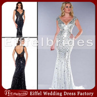 Wholesale 2015 Luxury Pageant Dresses Crystal Evening Gowns Sexy Bling Beaded Sequins Deep V Neck Elegant Sheer Waist Open Back Mermaid Prom Dress