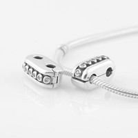 Flowers diva - Authentic Sterling Silver Double Diva with Clear Zirconia Clip charm Bead Fits European Pandora Jewelry Bracelets Necklace Pendant