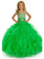 Wholesale Floor Length Ball Gown Girl s Pageant Dresses Sexy lovely green Halter beads sash long flower girls dresses PA1514