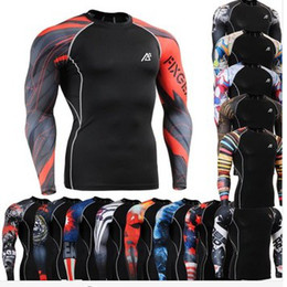 Wholesale All in ONE in CPD Fashion Prints Men s Fitness Training Running Compression Base Layer Tights Long Sleeve Shirts Tops