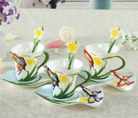 Wholesale 180ml Porcelain Bone China Butterfly Flowers Coffee Set Creative Tea Cup Set Hand Painting Set colors