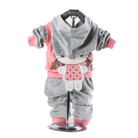Cheap Children Clothing baby 2 piece suit set tracksuits Girl's Cartoon clothing sets velvet Sport suits hoody jackets +pants XQ