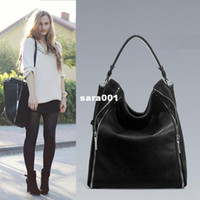 Wholesale H1276 ZZ BLACK BUCKET BAG WITH ZIPS HOBO HANDBAG Genuine leather PU DROP SHIPPING