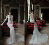 Cheap 2014 Vintage A-Line Wedding Dresses Berta Bridal Lace Deep V Neck Poet Long Sleeves Sheer Chapel Train Backless Winter Formal Gowns BO3924