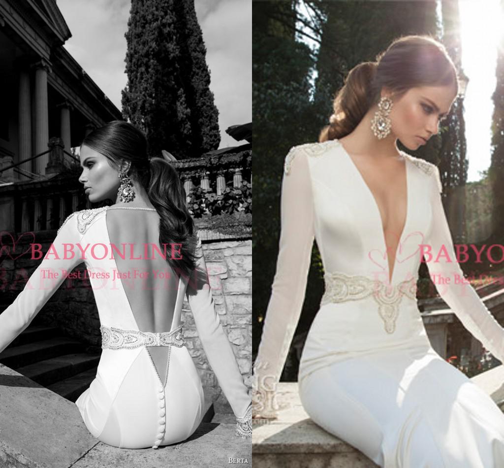 2015 sexy mermaid wedding dresses berta bridal deep v neck appliques