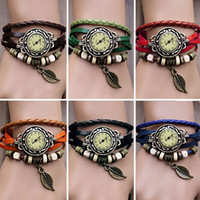 Wholesale New Fashion Quartz Weave Wrap Synthetic Leather Bracelet Women s Wrist Watch Colors Adeal