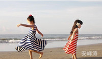 Summer long casual dresses - 2015 Girls summer Bohemian fairy dresses girls striped beach dress casual long skirt for girls loose vest dress