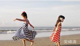 Wholesale 2015 Girls summer Bohemian fairy dresses girls striped beach dress casual long skirt for girls loose vest dress