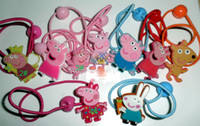 Hairbands Plastic Animal Baby Cartoon BB clips girls hairpins Children Hair rope silicone Headwear Lovely pig doll girls accessories, 50pcs 1lot Free shipping.