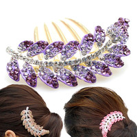 Cheap New Women Korea Fashion Olive Leaf Hair Accessories Luxury Crystal Rhinestone Bobby pin Hair Comb Bride Hairpin For Party Feast Wedding