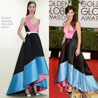 Wholesale New Sexy Sleeveless Deep V Neck Colorful Satin Mermaid Evening Dress Sandra Bullock The st annual Golden Globe Awards Celebrity Gowns