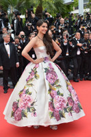 Cheap 2014 Pageant Dresses Sonam Kapoor Nice Dress in Cannes Film Festival Evening Dresses Backless & Print Flowers Satin Prom Dresses BO3084