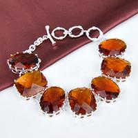 Link, Chain Mexican Women's 2014 trends bracelets jewelry 925 silver jewelry BRAZIL CITRINE B0837