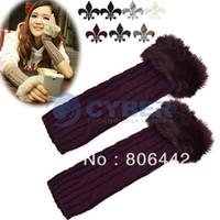 Wholesale Korean Women Arm Warmer Faux Fur Cable Knit Fingerless Gloves Colors