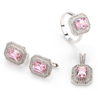 Earrings & Necklace Cubic Zirconia Silver Plate/Fill Wholesale R3240 set sz6 7 8 9 Beautiful Pink Cubic Zirconia 925 silver Micro inlays jewelry Fashion heart set (ring earring pendant)