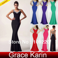 Wholesale Grace Karin Black Red Sexy V Neck Acrylic Backless Split Mermaid Long Ball Gown Evening Prom Party Dress CL6061
