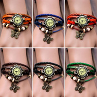 Wholesale New Women s Fashion Quartz Butterfly Weave Wrap Synthetic Leather Bracelet Wrist Watch Colors Adeal