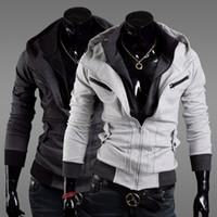 Wholesale New Fashion Men Slim Sweatshirt Plus Size Faux Two Piece Outwears Casual Zippers Cardigan Hoodies Colors Size