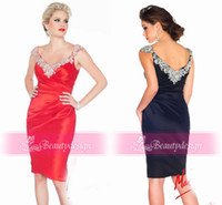Wholesale Gorgeous sparkly sequins crystal short evening prom gowns off the shoulder sexy cap sleeves knee length satin sheath cocktail dresses R