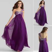Elegant Purple 2014 Tulle Cheap Party Formal Crystal Evening...