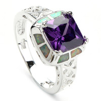 Wholesale Amethyst Cubic Zirconia white fire opal SILVER RING R183 SZ