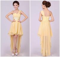 Reference Images Ribbon Sleeveless 2014 New!!! Light Yellow one shoulder ruched hi-lo Length bridesmaid dress discount bridesmaid dress affordable bridesmaid dress ZH011419
