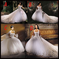 Wholesale 2014 Wedding dresses with strapless halter Long sleeves off the shoulder straps A line White Lace Tulle Beads Ruched court train Bridal Gown