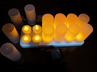 Wholesale Best price set rechargeable led candle light Electronic candle with frosted holder set