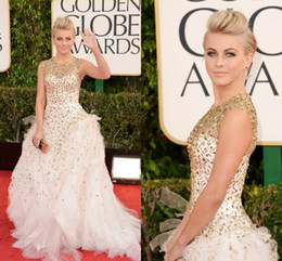 Wholesale 2014 Sexy Julianne Hough in Golden Globes Red Carpet Celebrity Dresses Ball Gown High Neck Gold Beaded Tulle Formal Prom Dress Evening Gowns