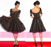 Wholesale Custom made full lace black A line homecoming short mini dresses half long sleeves knee length backless cocktail gowns R