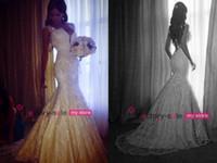 Wholesale 2014 Vintage Mermaid Wedding Dresses Lace Vertigo De Nova Capped Sleeves Appliques Beads Tulle Backless Bridal Gowns BO4457