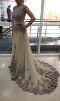 Wholesale Real image Celebrity dress Lace Tulle Evening Gowns floor length Arabic dresses vestidos Sexy Prom Dresses