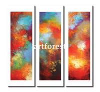 Wholesale 3 Panels Modern Canvas Huge Abstract Art Oil Painting Online the Colorful Day Redefine Living Style Warm and Bright Home As Perfect Present