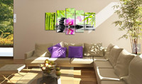 One Panel Oil Painting Abstract 5 Panel Wall Art Botanical Green Feng Shui Orchid Pink Oil Painting On Canvas Textured Abstract Paintings Pictures Decor