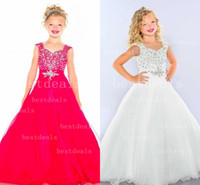 Red White Lovely Girls Pageant Dresses Ruffles Fuchsia Organ...