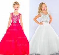 Red White Lovely Girls Pageant Dresses Ruffles Fuchsia Organ...