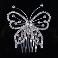 Wholesale Korean jewelry butterfly rhinestone bridal hair comb comb