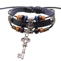 Beaded, Strands alloy fittings pendant - Retro Popular Key Pendant alloy fittings jewelry boutique fashion leather bracelet