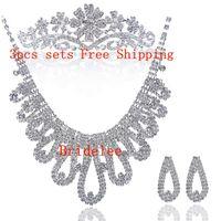 Wholesale Korean jewelry bridal crown tiara wedding rhinestone suit sets of chain studio three piece bridal accessories hair accessories